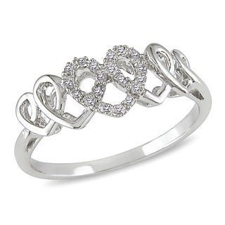 Miadora 14k White Gold 1/10ct TDW Diamond Heart Ring (G-H, I1-I2)