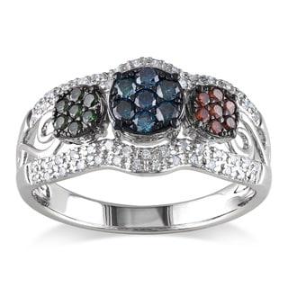 Miadora Sterling Silver 1/2ct TDW Round-cut Multicolored Diamond Ring