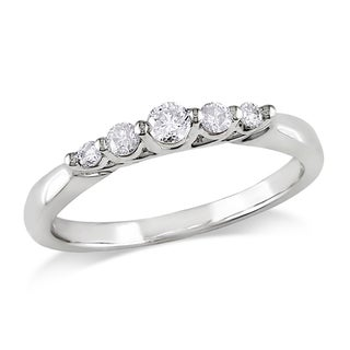 Miadora 14k White Gold 1/4ct TDW 5-Stone Diamond Ring (G-H, I1-I2)