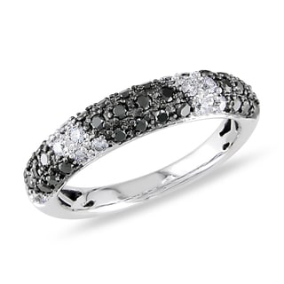 Miadora 14k White Gold 1/2ct TDW Black and White Diamond Ring