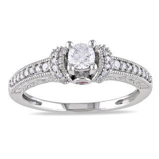 Miadora 10k White Gold 1/3ct TDW Diamond Engagement Ring (H-I, I2-I3)