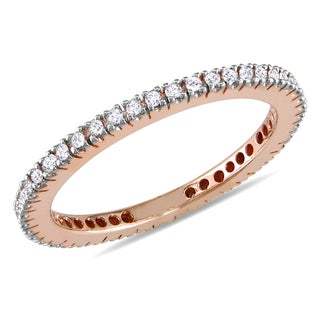 Miadora 10k Rose Gold 1/3ct TDW Diamond Eternity Ring (H-I, I2-I3)