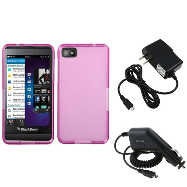 INSTEN Travel Charger/ Car Charger/ Pink Phone Case Cover for Blackberry Z10