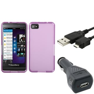 Insten Car Charger/ Micro USB Cable Cord/ Purple TPU Rubber Candy Hard Transparent Clear Phone Case Cover for Blackberry Z10