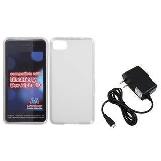 INSTEN Travel Charger/ Clear White Candy TPU Phone Case Cover for Blackberry Z10
