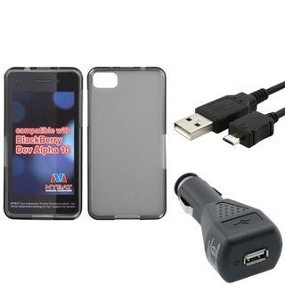Insten Car Charger/ Micro USB Cable Cord/ Smoke TPU Rubber Candy Hard Transparent Clear Phone Case Cover for Blackberry Z10