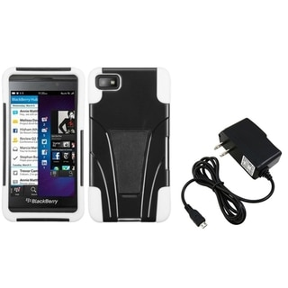 BasAcc Travel Charger/ White Case with Stand for Blackberry Z10