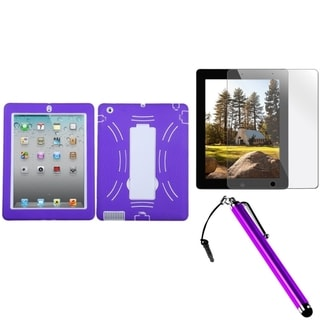 BasAcc Purple Case/ Stylus/ LCD Protector for Apple iPad 2/ 3/ 4
