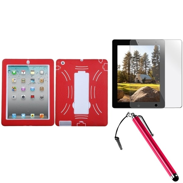 INSTEN White/ Red Tablet Case Cover/ Stylus/ LCD Protector for Apple iPad 2/ 3/ 4