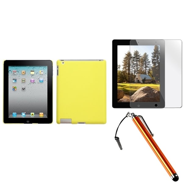 INSTEN Yellow Tablet Case Cover/ Stylus/ LCD Protector for Apple iPad 2/ 3/ 4