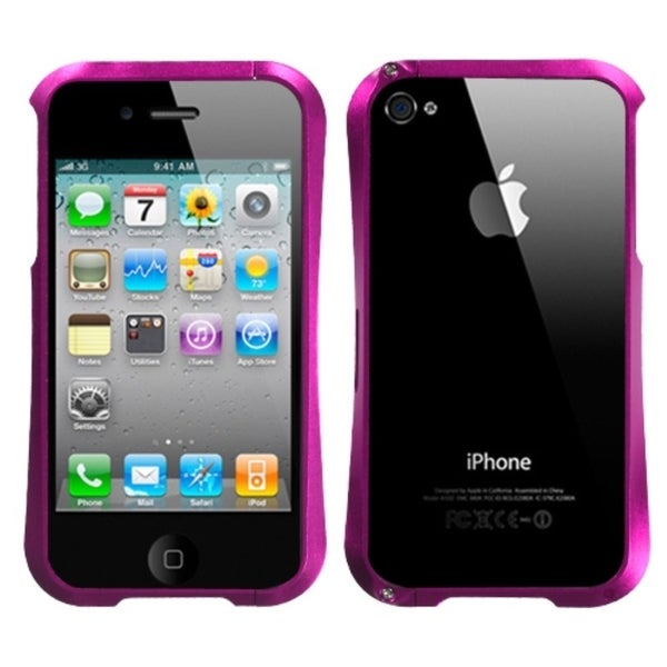 INSTEN Hot Pink/ Chrome Metal Surround Shield for Apple iPhone 4S/ 4