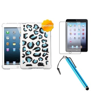 INSTEN Blue Leopard Tablet Case Cover/ Stylus/ LCD Protector for Apple iPad Mini