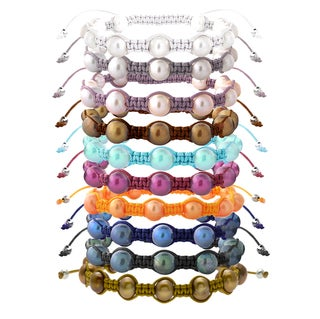 Glitzy Rocks Freshwater Pearl Macrame Bracelet Set (8-9 mm) (Set of 10)