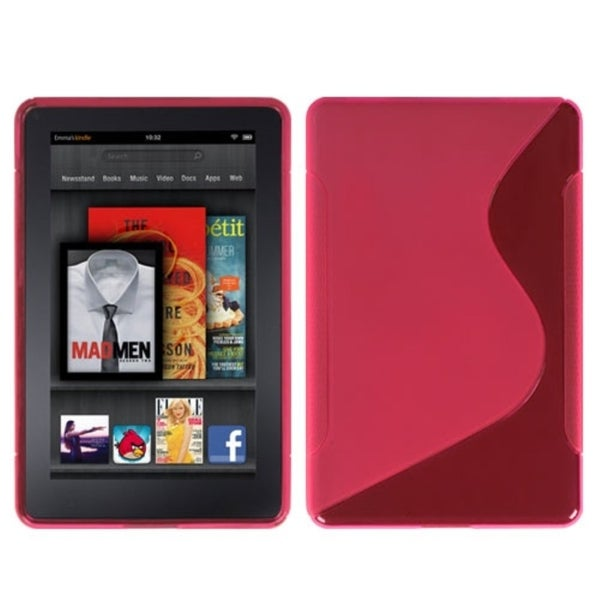 INSTEN Hot Pink/ S-shape Candy Skin Phone Case Cover for Kindle Fire