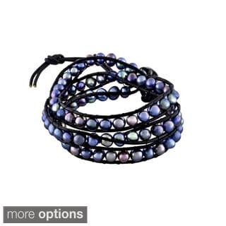 Glitzy Rocks Leather Freshwater Pearl Wrap Bracelet (6-7 mm)