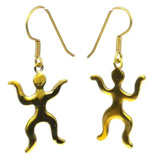 Handcrafted Reclaimed Brass Bomb Casing 'Dancing People' Earrings (Cambodia)