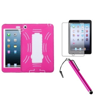 INSTEN White/ Hot Pink Tablet Case Cover/ Stylus/ LCD Protector for Apple iPad Mini