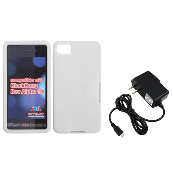 INSTEN Travel Charger/ White Soft Silicone Phone Case Cover for Blackberry Z10