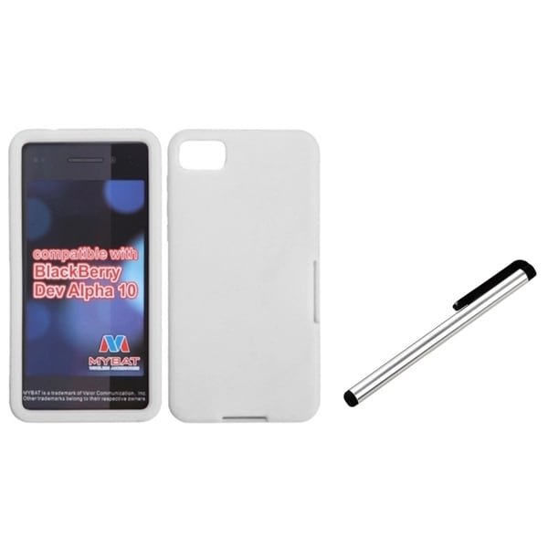INSTEN White Stylus/ White Phone Case Cover for Blackberry Z10