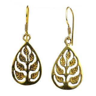 Handcrafed Tree of Life Bomb Casing Earrings (Cambodia)