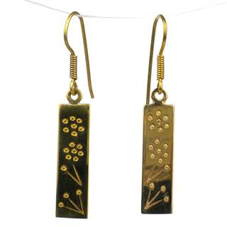 Handcrafed Narrow Flower Bomb Casing Earrings (Cambodia)