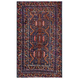 Afghan Hand-knotted Tribal Balouchi Dark Blue/ Rust Wool Rug (3'8 x 6'1)