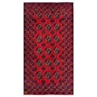 Afghan Hand-knotted Tribal Balouchi Red/ Rust Wool Rug (3'8 x 6'8)