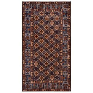 Afghan Hand-knotted Tribal Balouchi Brown/ Dark Blue Wool Rug (3'7 x 6'8)