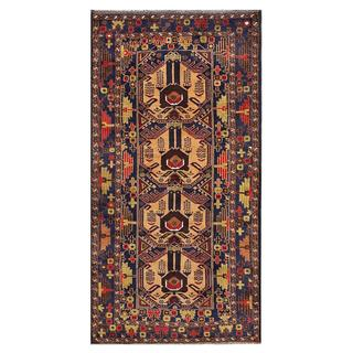 Afghan Hand-knotted Tribal Balouchi Light Brown/ Light Green Wool Rug (3'4 x 6'9)