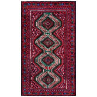 Afghan Hand-Knotted Tribal Balouchi Red/ Green Wool Rug (3'5 x 6'1)