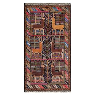 Afghan Hand-knotted Tribal Balouchi Multi-colored Wool Rug (3'7 x 6'9)