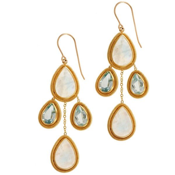 Michael Valitutti Gold over Silver Moonstone and Blue Topaz Earrings