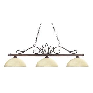 Crown Weathered Bronze 3-light Billiard with Golden Mottle Glass Shades