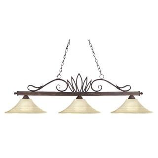 Crown Weathered Bronze 3-light Billiard with Fluted Golden Matte Shades