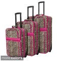 World Traveler Designer Leopard Print 3-piece Expandable Luggage Set