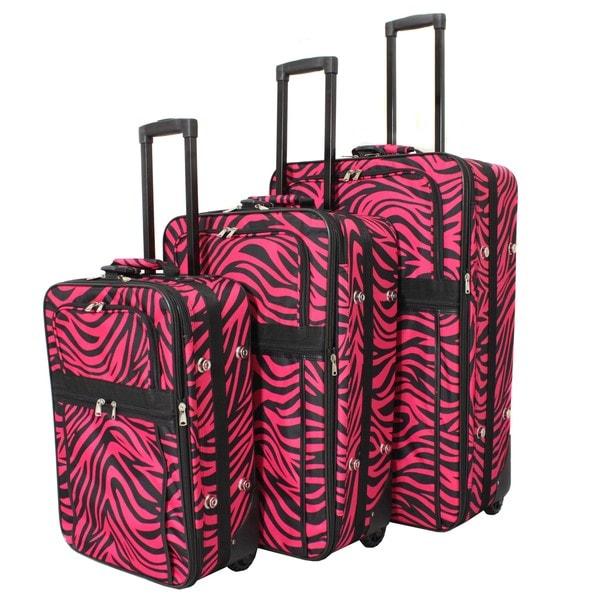 World Traveler Designer Fuchsia Black Zebra Print 3-piece Expandable Luggage Set