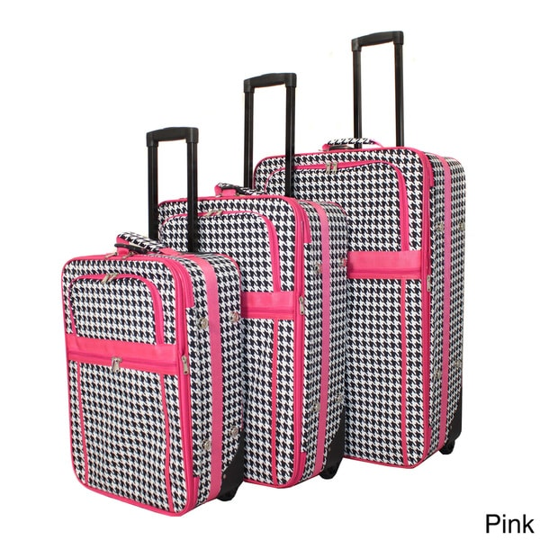 World Traveler Designer Houndstooth Print 3-piece Expandable Luggage Set
