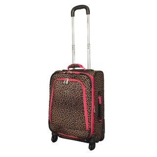 Rockland Deluxe Pink Leopard 20-inch Expandable Carry-on Spinner Upright Suitcase