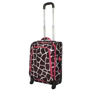 Rockland Pink Giraffe 20-inch Expandable Carry-on Spinner Upright Luggage