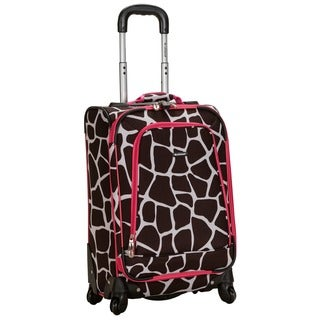 Rockland Deluxe Pink Giraffe 20-inch Expandable Carry-on Spinner Upright Suitcase