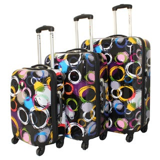 Art Inspired Circles 3-piece Lightweight Hardside Spinner Upright Luggage Set