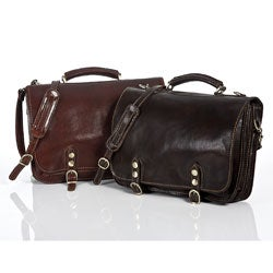 Alberto Bellucci Classic Italian Leather 'Comano' Double Compartment Laptop Messenger Bag