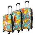 Art Inspired Flowers 3-piece Lightweight Hardside Spinner Upright Luggage Set
