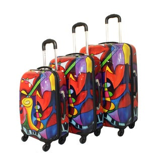 Art Inspired Music Instruments 3-piece Lightweight Hardside Spinner Upright Luggage Set