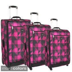 J World Crescent 3-piece 4 Wheels Expandable Luggage Set