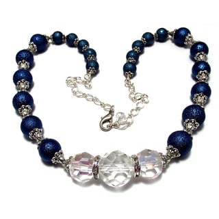 Dark Blue Bumpy Glass Pearls and Clear Crystal Jewelry Set