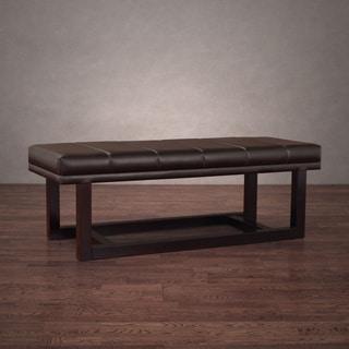 Modern Dark Brown Leather Loft Bench