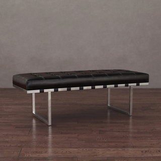 Andalucía Stainless Black Leather Button-tufted Bench
