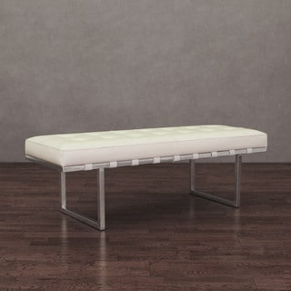 Andaluc�a White and Stainless Steel Modern Leather Button-tufted Bench