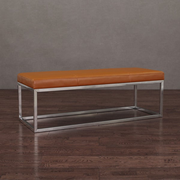 Manhattan Tan And Stainless Steel Leather Bench Overstock Shopping Great Deals On Benches